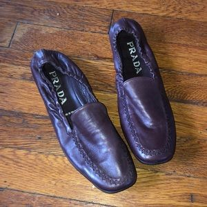 PRADA Italy maroon leather ballet flats shoes soft